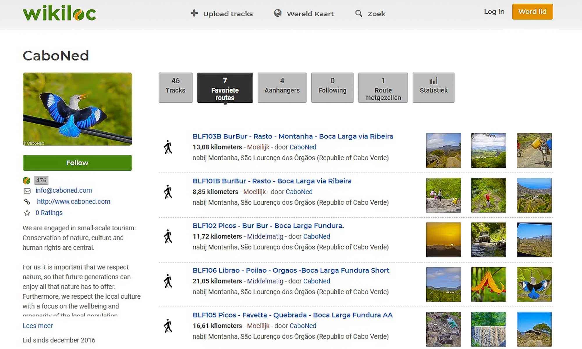 CaboNed ecotourism op Wikiloc.